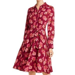 Nanette Lepore Pintucked Floral-Print Shirt Dress